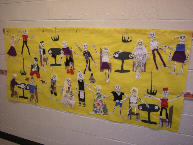 This restaurant scene was created by Ms. Strachn's third grade class.