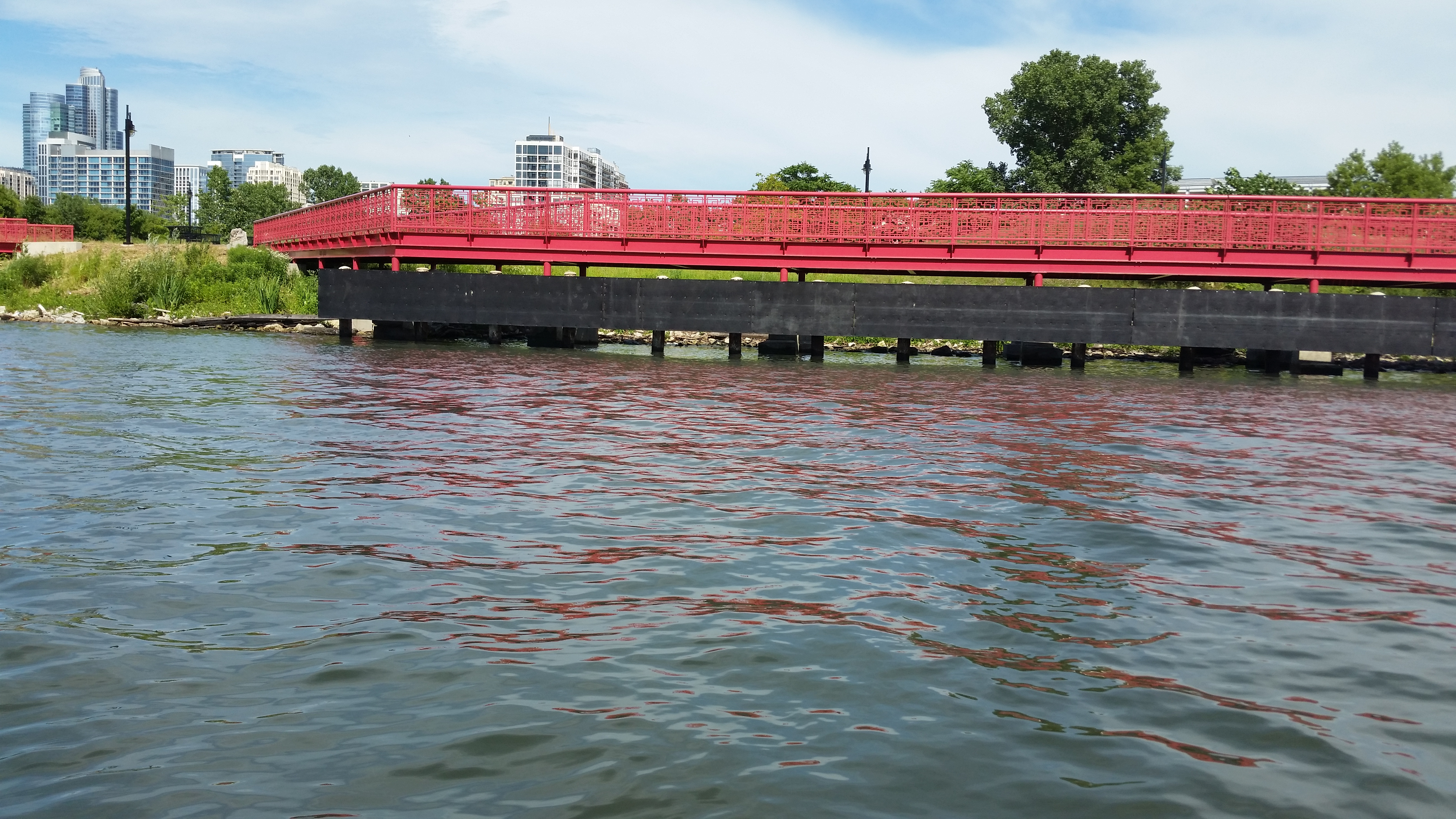 I love the way this bright red bridge reflects in the water.